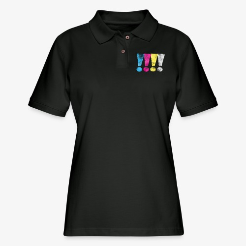 Distressed CMYK(W) Graphic Exclamation Points - Women's Pique Polo Shirt