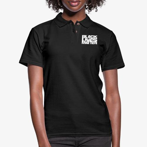 Black Live Matter Chaotic Typography - Women's Pique Polo Shirt
