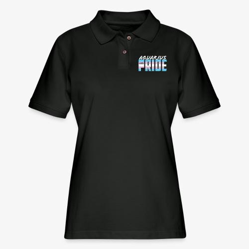 Aquarius Transgender Pride Flag Zodiac Sign - Women's Pique Polo Shirt