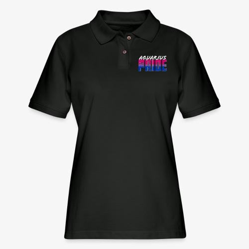Aquarius Bisexual Pride Flag Zodiac Sign - Women's Pique Polo Shirt