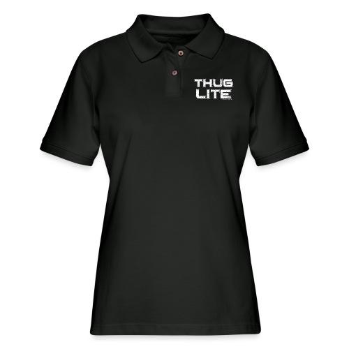 Thug Lite WHT.png - Women's Pique Polo Shirt