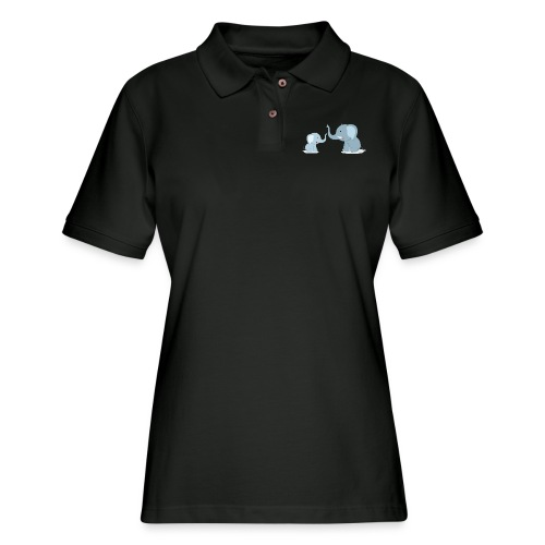 Father and Baby Son Elephant - Women's Pique Polo Shirt