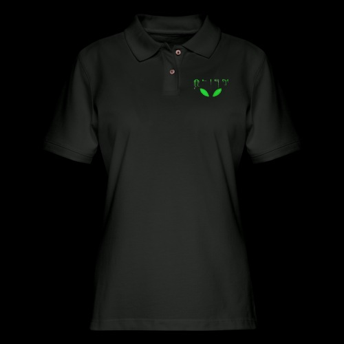 Alien Dribble with ET eyes - Green - Women's Pique Polo Shirt