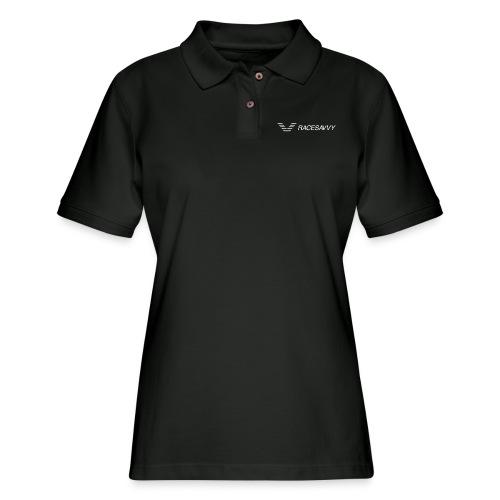 RaceSavvy White Logo Tanks - Women's Pique Polo Shirt