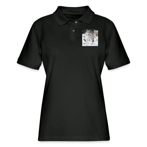 Canis lupus occidentalis - Women's Pique Polo Shirt