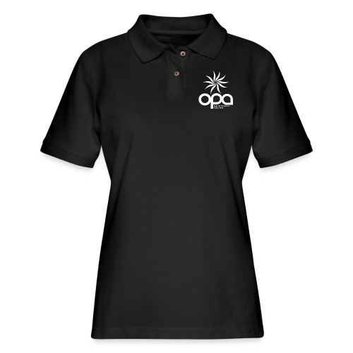 Short Sleeve T-Shirt with small all white OPA logo - Women's Pique Polo Shirt