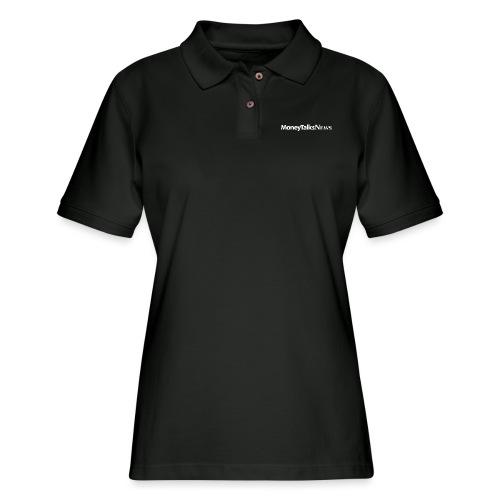Money Talks News Logo - White - Women's Pique Polo Shirt