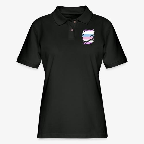 Bigender Pride Flag Ripped Reveal - Women's Pique Polo Shirt