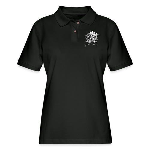 Curly Queen with Crown_ GlobalCouture Women's T-Sh - Women's Pique Polo Shirt