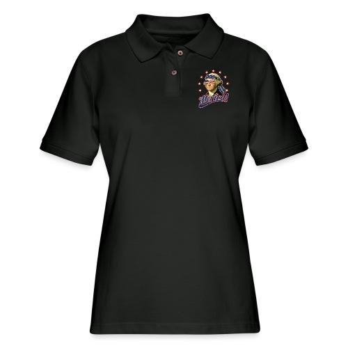 Funny Patriotic President George Washington Merica - Women's Pique Polo Shirt