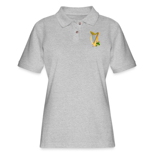 Celtic Irish gold Harp - Women's Pique Polo Shirt