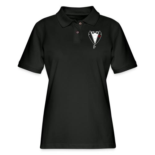 Tuxedo w/White Lapel - Women's Pique Polo Shirt