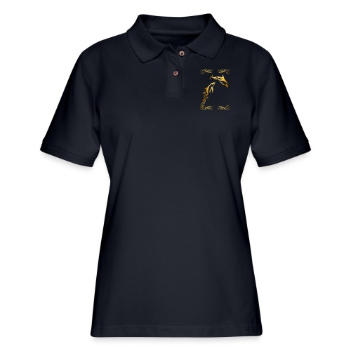 Two Gold Dolphins with frilly frames - Women's Pique Polo Shirt