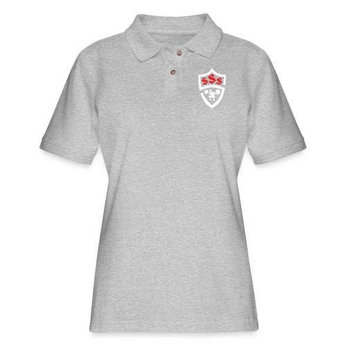 Logo Only White and Red - Women's Pique Polo Shirt