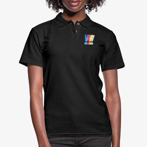 Large Distressed CMYK Exclamation Points - Women's Pique Polo Shirt
