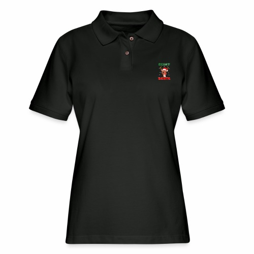 Rudolph Red Nose Reindeer Christmas Snowflakes. - Women's Pique Polo Shirt