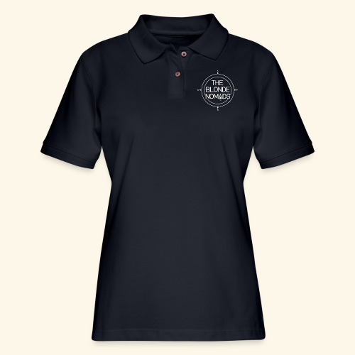 The Blonde Nomads logo WHITE - Women's Pique Polo Shirt