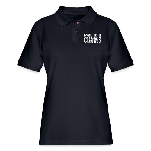 Insane for the Chains White Print - Women's Pique Polo Shirt