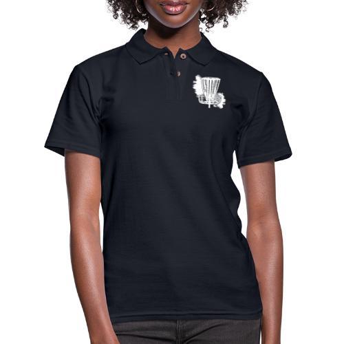 Disc Golf Basket White Print - Women's Pique Polo Shirt