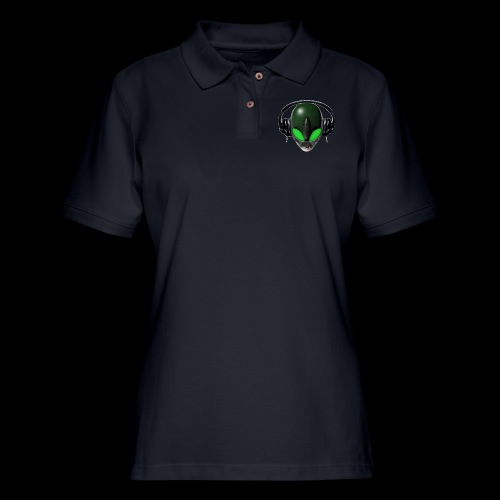 Reptoid Green Alien Face DJ Music Lover - Friendly - Women's Pique Polo Shirt