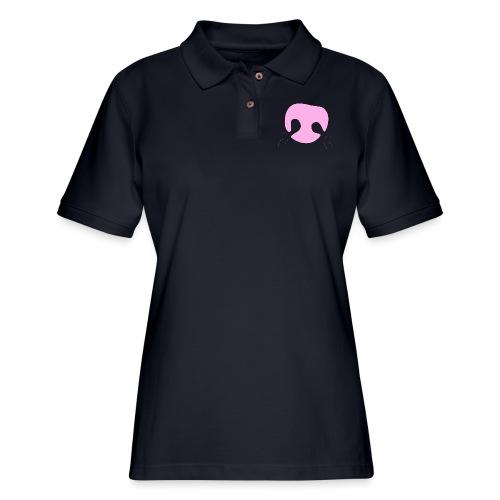 Pink Whimsical Dog Nose - Women's Pique Polo Shirt