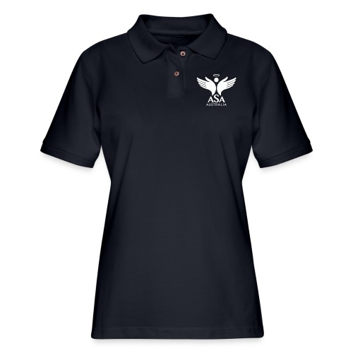 3459 Angelman Logo AUSTRALIA FA WHITE LR - Women's Pique Polo Shirt