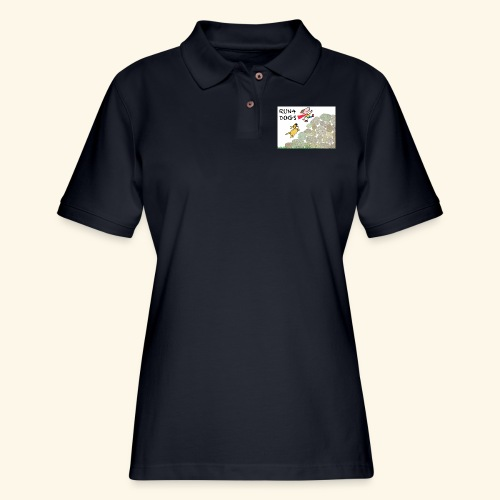 Dog chasing kid - Women's Pique Polo Shirt