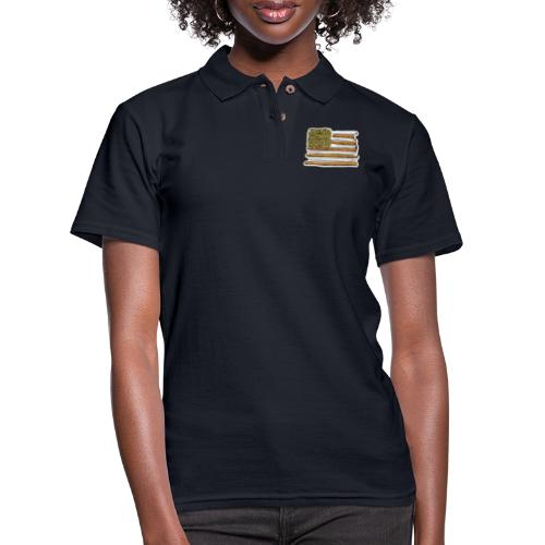 American Flag With Joint - Women's Pique Polo Shirt
