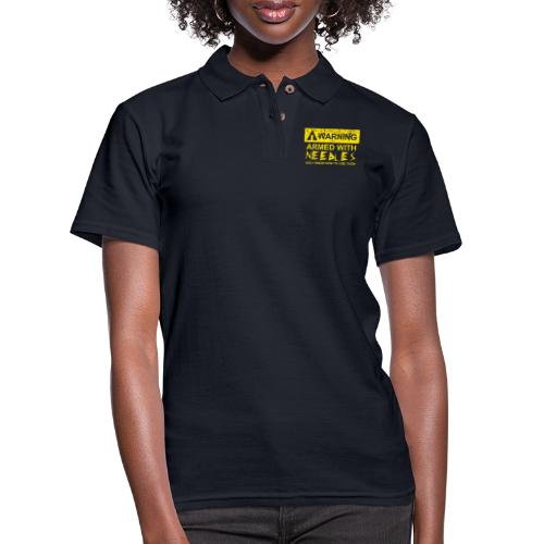 WARNING Armed With Needles - Women's Pique Polo Shirt