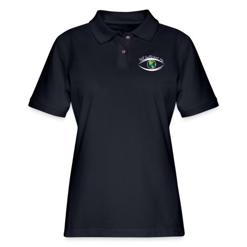Self Sufficient Me Logo white small coy design - Women's Pique Polo Shirt