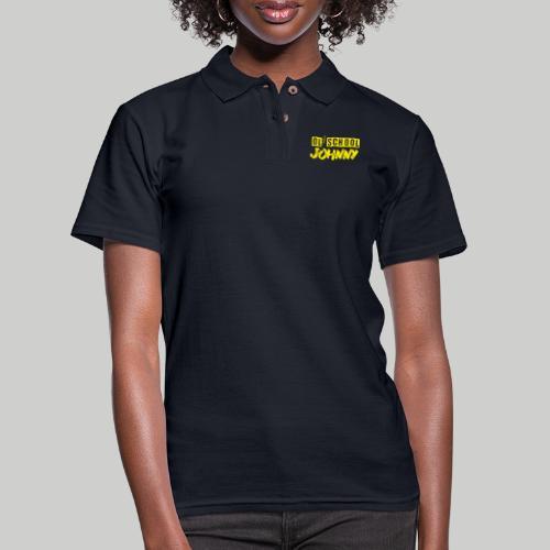 Ol' School Johnny Logo in Yellow - Women's Pique Polo Shirt