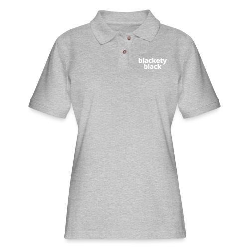 Women's Blackety Black Hoodie - Women's Pique Polo Shirt