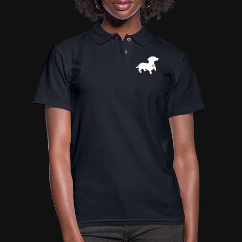 Dachshund silhouette white - Women's Pique Polo Shirt