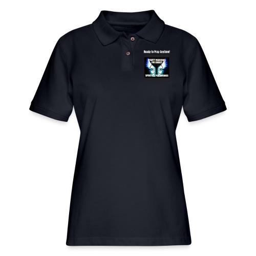 MightyWarrior PrayAnytime White - Women's Pique Polo Shirt