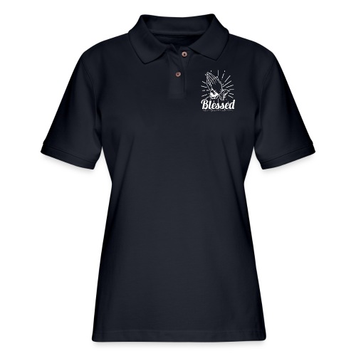 Blessed (White Letters) - Women's Pique Polo Shirt