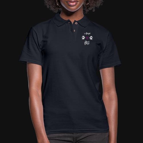 Adopt, don't shop! (white) - Women's Pique Polo Shirt