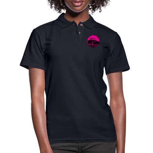 Retro Hot Pink Hot Rod Grungy Sunset Illustration - Women's Pique Polo Shirt
