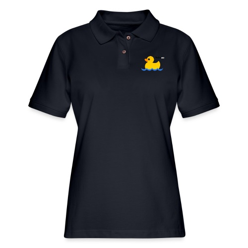 Hubs Duck - Wordmark and Water - Women's Pique Polo Shirt