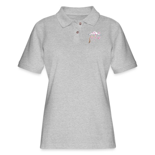 Cherry Blossoms and Mt. Fuji - Women's Pique Polo Shirt
