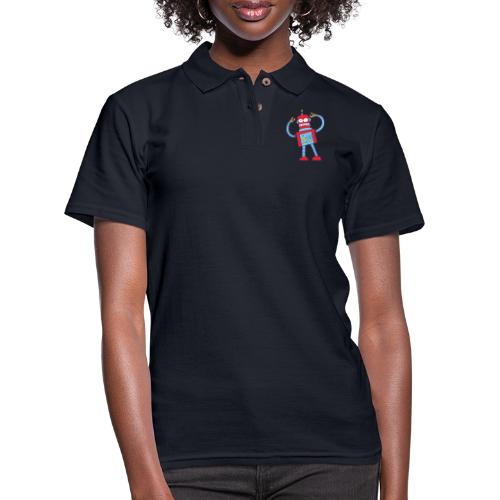 Red robot gnashing his teeth when getting mad - Women's Pique Polo Shirt