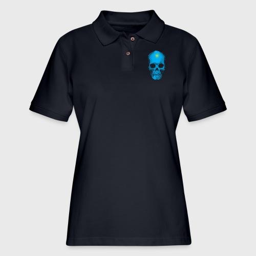 Finally Skull Cyan - Women's Pique Polo Shirt
