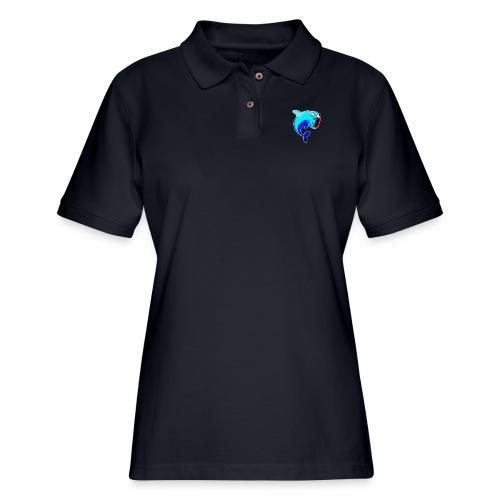 Happy Dolphin Logo - Women's Pique Polo Shirt