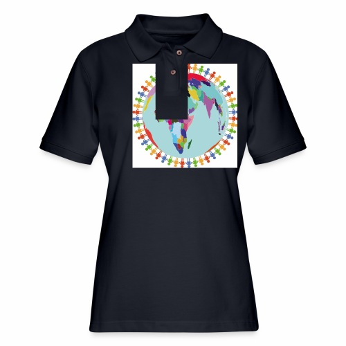 Community Group/Earth Globe/Earth Day/ Human Frame - Women's Pique Polo Shirt