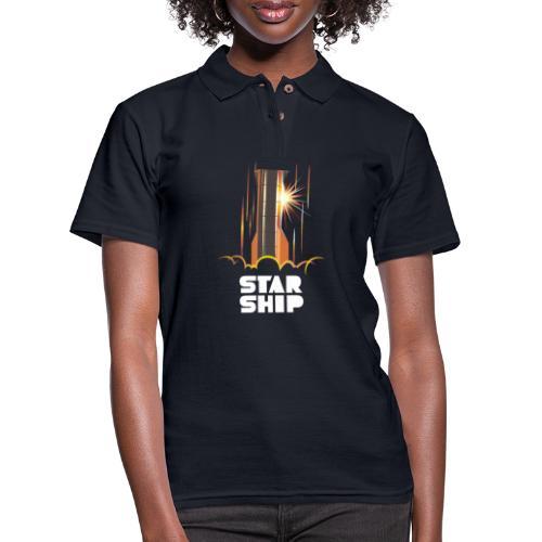 Star Ship Mars - Dark - Women's Pique Polo Shirt