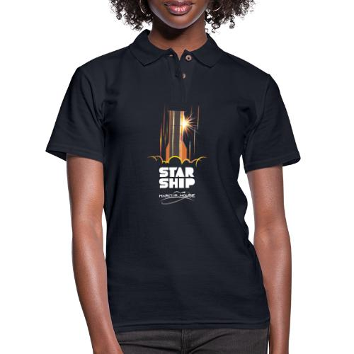 Star Ship Mars - Dark - With Logo - Women's Pique Polo Shirt