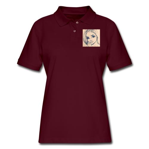 c7cae63168a24ef3c45fb8482aa467a3 drawing girls - Women's Pique Polo Shirt