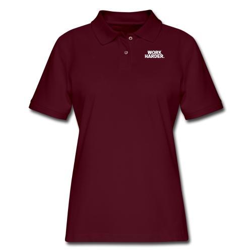 Work Harder distressed logo - Women's Pique Polo Shirt