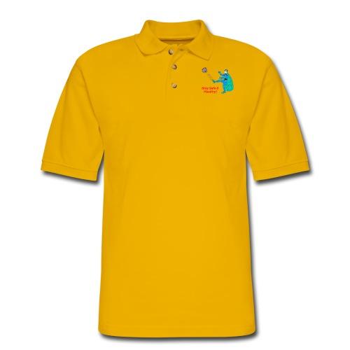 PYGOD Man kicking COVID 19 - Stay Safe Healthy - Men's Pique Polo Shirt