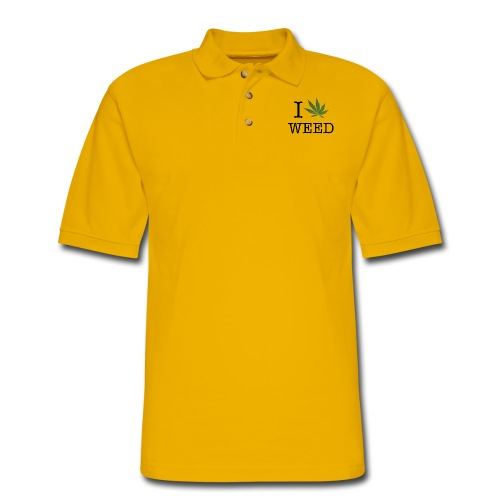 I love weed - Men's Pique Polo Shirt