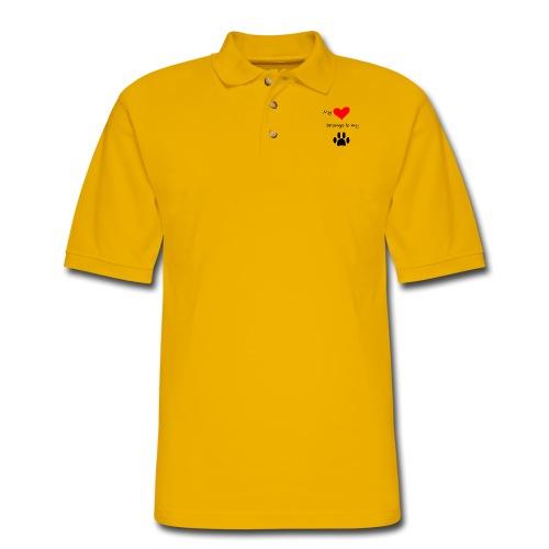 Dog Lovers shirt - My Heart Belongs to my Dog - Men's Pique Polo Shirt